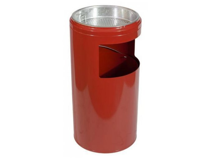 Odpadkový koš s popelníkem, červený, 20 litrů