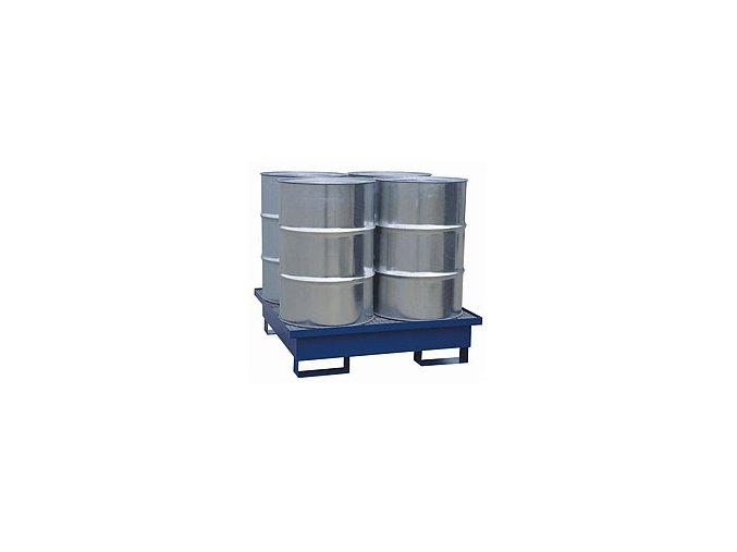 Záchytná vana pro 4 sudy, s roštem, 1200x1200x300 mm, lak