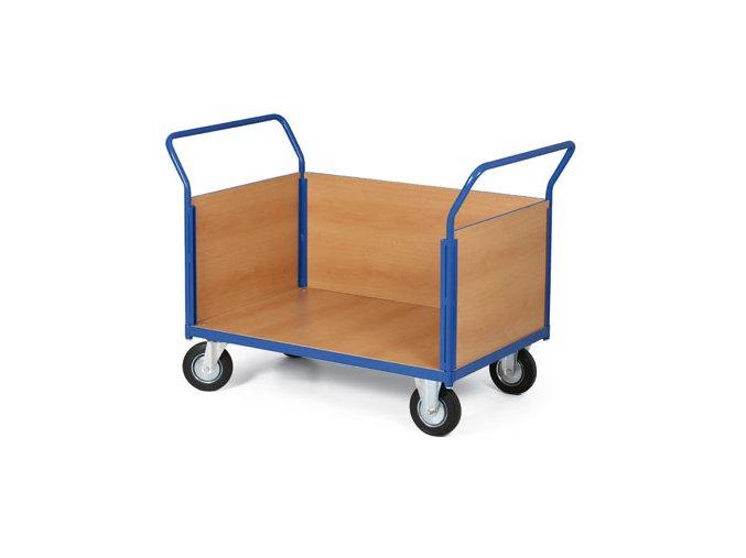 Plošinový vozík, tři strany plné, 200 kg