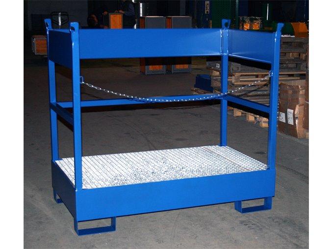 Záchytná paleta pro převoz dvou sudů 1400x800x1300 mm, pozink