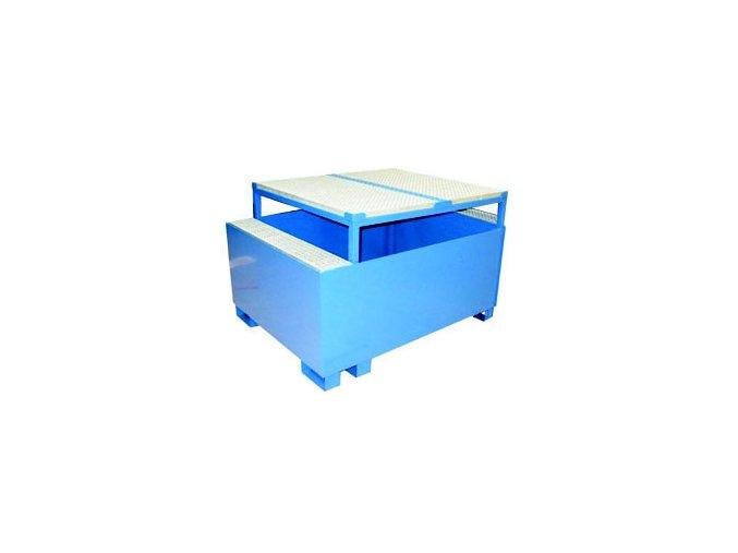 Záchytná vana s roštem a stolem 1200x1500x950 mm, pozink