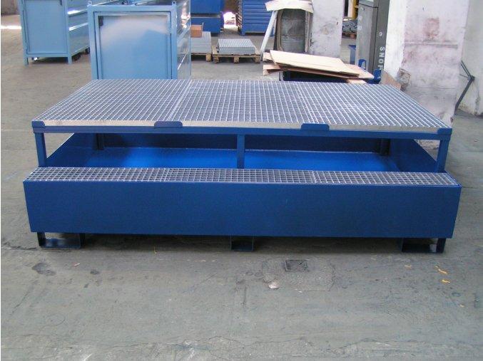 Záchytná vana s roštem a stolem 2300x1500x650 mm, pozink
