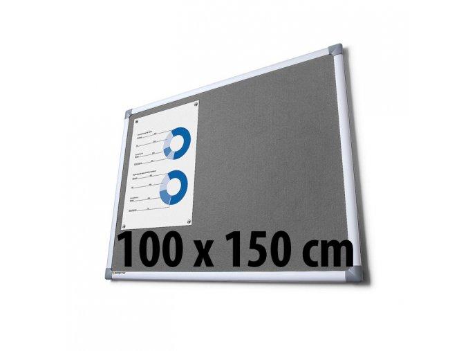 Tabule textilní, 100 x 150 cm, šedá
