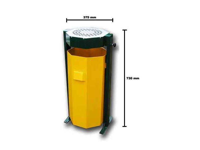 Venkovní odpadkový koš s popelníkem žlutý