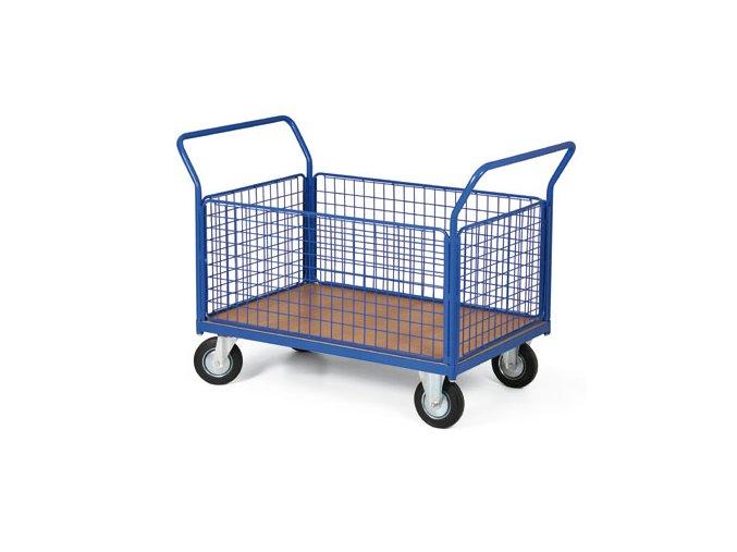 Plošinový vozík, čtyři strany drátěné, 300 kg