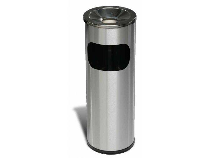 Odpadkový koš nerezový s popelníkem nízký, matný