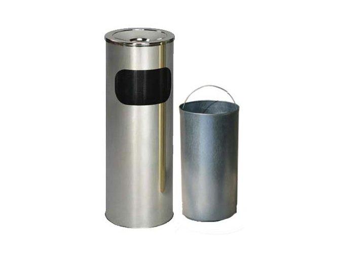 Odpadkový koš nerezový s popelníkem s vnitřní nádobou, matný