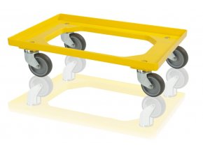podvozek pro prepravky 4 otocna kola zluty
