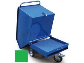 Výklopný vozík na špony, třísky 250 litrů, var, základní, zelená
