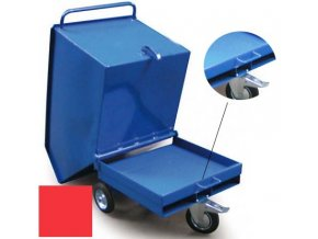 Výklopný vozík na špony, třísky 250 litrů, var, s kapsami, červená