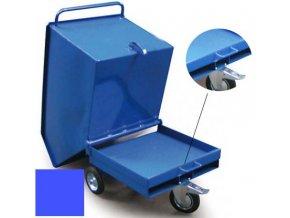 Výklopný vozík na špony, třísky 600 litrů, var, s kapsami, modrý