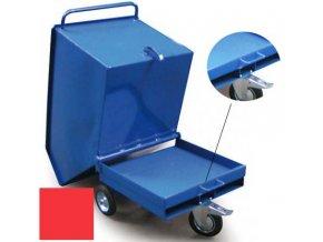 Výklopný vozík na špony, třísky 600 litrů, var, s kapsami, červený