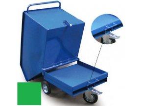 Výklopný vozík na špony, třísky 600 litrů, var, s kapsami, zelený