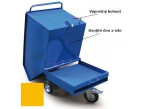 Výklopný vozík na špony, třísky 400 litrů, var, s kohoutem, žlutý