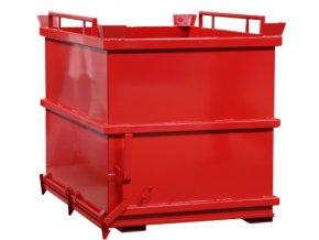 kontejner s vyklopnym dnem 2000 litru cerveny