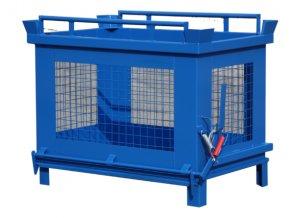 kontejner s vyklopnym dnem 600 litru sitovany modrý