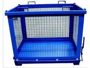 Kontejner s výklopným dnem, 1500 litrů, modrá, drátěné stěny