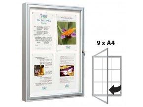 Venkovní vitrína 1050 × 750 mm (bezpeč. sklo), hloubka 58 mm, 9xA4