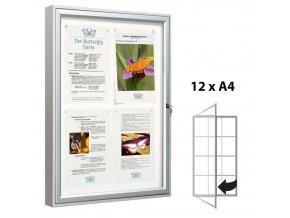 Venkovní vitrína 1350 × 750 mm (bezpeč. sklo), hloubka 58 mm, 12xA4