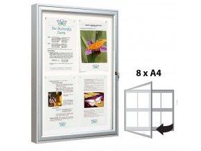 Venkovní vitrína 830 × 980 mm (bezpeč. sklo) hloubka 58 mm, 8xA4