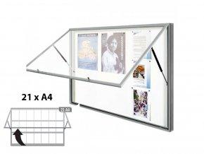 Venkovní vitrína 1130 x 1600 (bezpeč. sklo), hloubka 58 mm, 21xA4