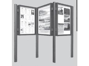 Souprava sloupků k vitrínám hloubky 75 mm a výšky 1350 mm