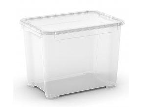 Plastový úložný box s víkem, průhledný, 20 litru