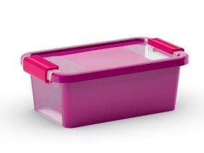 Plastový úložný box s víkem na klip, 3 l, fialová