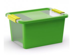 Plastový úložný box s víkem na klip, 11 l, zelená
