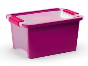 Plastový úložný box s víkem na klip, 11 l, fialová