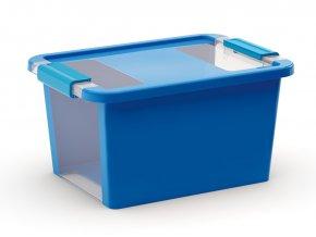 Plastový úložný box s víkem na klip, 11 l, modrá