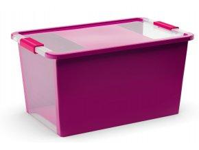 Plastový úložný box s víkem na klip, 40 l, fialová