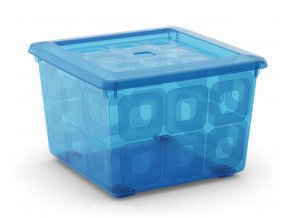 Box čtvercový modrý, na kolečkách