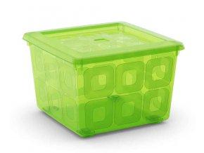 Box čtvercový zelený na kolečkách