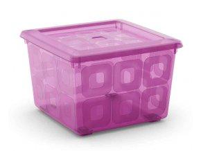 Box čtvercový fialový, na kolečkách
