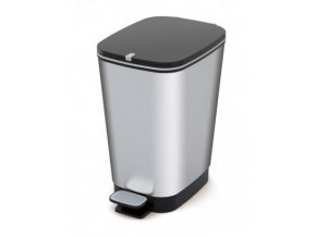Odpadkový koš plastový, design stříbrná, 35 l