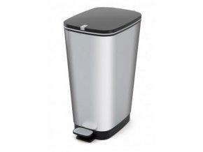 Odpadkový koš plastový, design stříbrná, 60 l