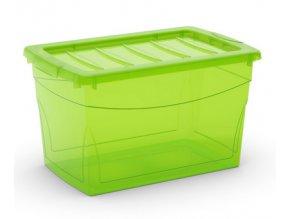 Plastový úložný box s víkem na klip, průhledný, zelená, 30 l