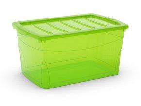 Plastový úložný box s víkem na klip, průhledný, zelená, 50 l