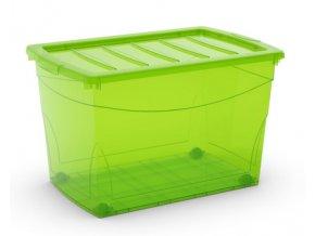 Plastový úložný box s víkem na klip, průhledný, zelená, 60 l