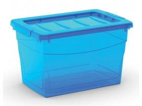 Plastový úložný box s víkem na klip, průhledný, modrá, 16 l