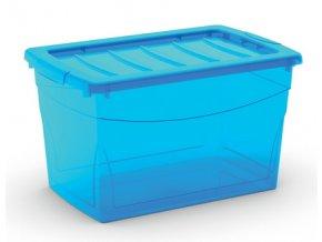 plastovy ulozny box s vikem na klip pruhledny modry 30 l