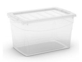 Plastový úložný box s víkem na klip, průhledný, transparentní, 30 l
