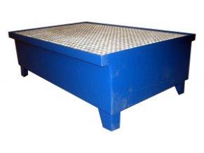 Záchytná vana pro 2 sudy, s roštem, 1200x810x405 mm, lak