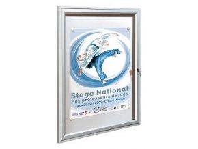 Interiérová jednokřídlá vitrína 750 x 750 mm, hloubka 30 mm - stříbrně anodizovaná