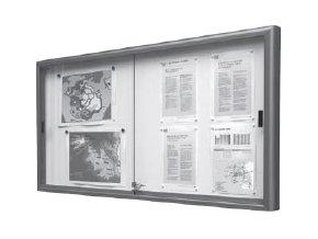 Interiérová jednostranná posuvná vitrína 750 x 1000 mm, hloubka 60 mm - stříbrně anodizovaná