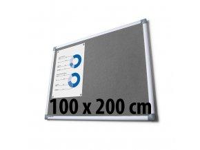 Tabule textilní, 100 x 200 cm, šedá
