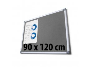 Tabule textilní, 90 x 120 cm, šedá