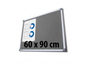 Tabule textilní, 60 x 90 cm, šedá