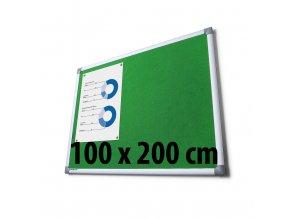 Tabule textilní, 100 x 200 cm, zelená